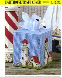 Lighthouse Tissue Cover for you to make - Annie's Plastic Canvas Pattern/Instructions Leaflet Finished size: Loosely covers a boutique style tissue box. Plastic Canvas Ornaments, Plastic Canvas Tissue Boxes, Plastic Canvas Crafts, Plastic Canvas Patterns, String Crafts, Yarn Crafts, Diy Crafts, Yarn Storage, Canvas Designs