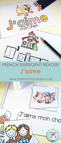 "French I love Emergent Reader: J'aime. Kids will be working with the focus sight word by writing, cutting and pasting, tracing, reading, and more! Includes many size options and a ""big classroom book"" in color and B&W. Fun and effective printable for the Learning French For Kids, Ways Of Learning, French Language Learning, Teaching French, Spanish Language, Learning Spanish, Learning Italian, German Language, Learning Games"