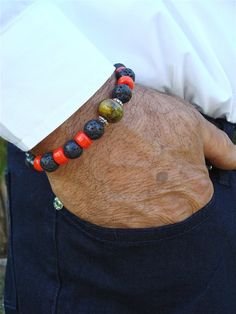 Men's Bracelet with Semi Precious Stones Chunky by tocijewelry, $38.00