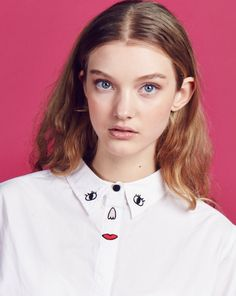 Lazy Oaf Embroidered Face Shirt - Clothing - NEW IN - Womens