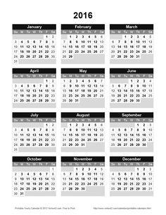 Printable 2016 Yearly Calendar