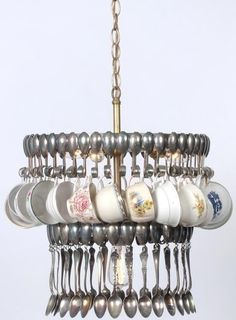 TEACUP  SILVER SPOON CHANDELIER ARTISAN HAND MADE 2 TIERS UPCYCLED V