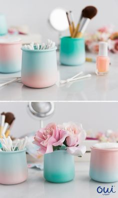 Oui by Yoplait glass pots are the perfect DIY this spring! Spray paint pots in your favorite colors to create a mermaid effect then use them as flower vases or beauty storage. So pretty with so many possibilities! Crafts With Glass Jars, Mason Jar Crafts, Bottle Crafts, Home Crafts, Crafts To Make, Easy Crafts, Crafts For Kids, Baby Food Jar Crafts, Baby Food Jars