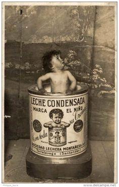 POSTAL PUBLICIDAD LECHE CONDENSADA MARCA EL NIÑO. BODEGA LECHERA MONTAÑESA. TORRELAVEGA. SANTANDER. FOTO CASALS #publicidad #antigua #postal #santander #cantabria #torrelavega #lechecondensadaelniño