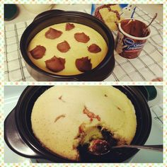 10 min cake in pampered chef rockcrok! Just use box cake mix (follow directions on box) then add dollops of icing, don't mix in,  then microwave covered for 10 mins.  Yum!