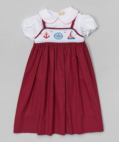 Loving this Red Nautical Smocked Jumper & White Puff-Sleeve Top - Infant on #zulily! #zulilyfinds
