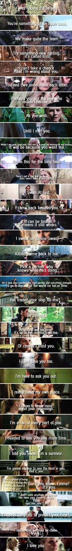 I love this!! This is amazing. Captain Swan moments/quotes from the second episode they knew each other to the most recent one.