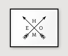 Printable HOME arrow wall art decor graphic by MoonlightPrint