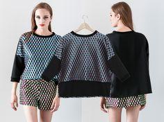 Jasmi geometric #cropped #top - Shallowmint.com