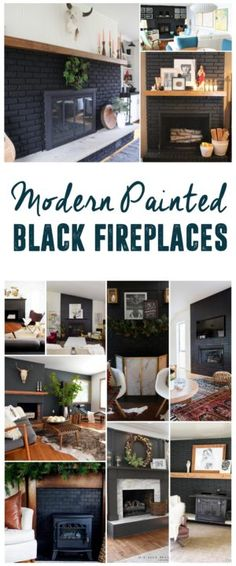 Bold Black Fireplaces, Black Painted Fireplaces, www.BrightGreenDoor.com