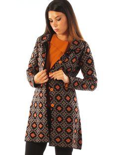 Geometric patterned wool blend casual long jacket. http://www.luanaromizi.com/en/jackets-blazers-woman/geometric-patterned-wool-blend-casual-long-jacket-a.html #geometric #patterned #woolblend #casual #longjacket #madeinitaly #freesketch #luanaromizi #fallwinter
