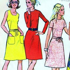 "EASY Vintage 70s BASIC DRESS Sewing Pattern Bust 36"" Size 12 Retro KNITS"