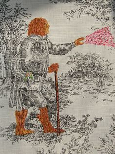 Richard Saja's embroidery interpretations of 'classic' scenes.