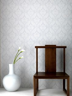 Vintage Flock Wallpaper by Kelly Hoppen - White Damask Wall Coverings by Graham Brown