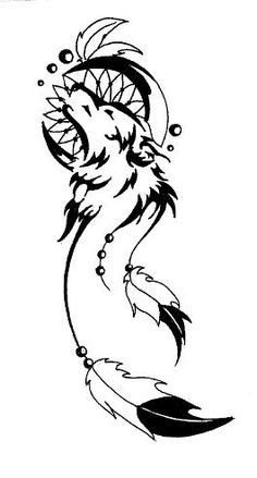 Tribal wolf dreamcatcher tattoo design I did for a friend. Lacey Rose.
