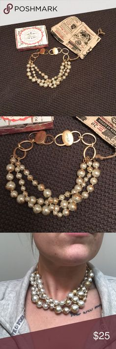 Plunder pearl necklace NWT Never worn. Just tried on. Metal clasps. Lia Sophia Jewelry Necklaces