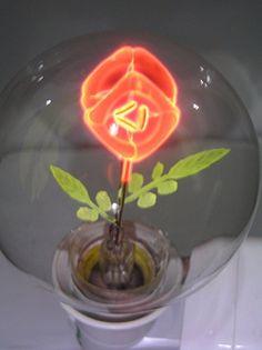 """Artful NEON LIGHT BULB E26/E27 110/220V NIXIE Filament Lamp Tube """"Rose"""" (as old Aerolux)"""