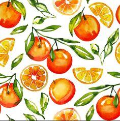 Oranges Watercolor Tangerine Fruit Print Metal Art Print by Huntleigh - LARGE Watercolor Fruit, Watercolor Pattern, Watercolor Flowers, Watercolor Paintings, Watercolour, Orange Bathroom Decor, Orange Bathrooms, Watercolor Shower Curtain, Framed Art Prints
