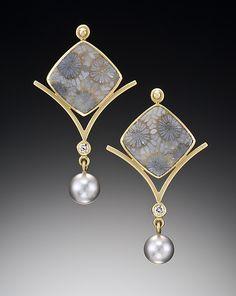 Flower Earrings by Ilene Schwartz: Gold & Stone Earrings - STUDIO SALE available at www.artfulhome.com