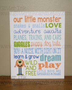 Custom 8x10 My Little Monster Word Art  Boy's by GlitterInkCards, $15.00