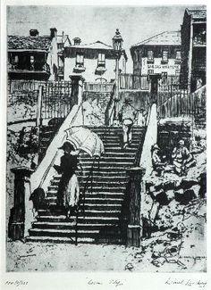 Essex Street, & Hunter Street, Sydney by Lionel Lindsay. Facsimilie print edition No. 10/550 (2), bears embossed edition stamp; signed, titled and numbered below image: Lionel Lindsay.