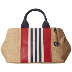 Tommy Hilfiger Jolene - Printed Straw w/ Printed Stripes Shopper... (€45) ❤ liked on Polyvore featuring bags, handbags, tote bags, navy, straw purses, tommy hilfiger tote, striped tote, tommy hilfiger tote bag and navy tote bag
