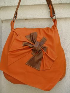 Orange Tangerine and Tan Leather Hobo Handbag with Scrunched and Sculpted Leather Accent via Etsy