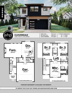Sims House Plans, Garage House Plans, Bedroom House Plans, House Floor Plans, Narrow House Plans, Two Story House Plans, Floor Plans 2 Story, Modern Floor Plans, Casas The Sims 4
