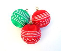 Lot of 3 Vintage Satin Christmas Ornaments Red Green Printed Designs Glitter, Unbreakable Red Green Satin Ornaments, Vintage Tree Trimmings