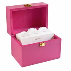 Recipe box. Just get a box like this at Michaels (i'm guessing?) and paint it any color and decorate it any way you want. Gonna do this! :)
