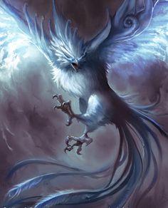 Moon Phoenix by janemini Mythical Birds, Mythical Creatures Art, Mythological Creatures, Magical Creatures, Beautiful Creatures, Fantasy Kunst, Dark Fantasy Art, Fantasy Artwork, Phoenix Mythology