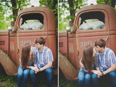 This is the perfect pose for engagement pics for all my friends looking for a great country wedding! So cute!