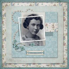 Catherine Veronica...interesting offset framing, beautiful soft colors and lovely pearl embellishments. This layout would be great for a bridal portrait.