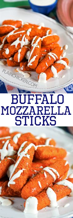 Buffalo Mozzarella Sticks - two favorites combined into one! Only 2 ingredients and ready in 15 minutes. Great for parties and tailgating. Finger Food Appetizers, Finger Foods, Appetizer Recipes, Snack Recipes, Cooking Recipes, Snacks, Vegan Recipes, Yummy Eats, Yummy Food