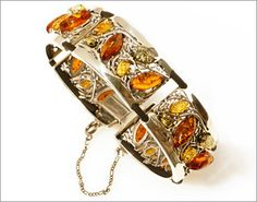 Baltic amber and sterling silver bracelet