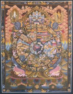 Wheel of Life    Size : 40*50 cm    The outer rim of the circle in this Mandala is divided into twelve sections to represent the stages of life beginning from ignorance to old age and death. The center of the circle represent the six realms of existence namely, Devas, Asuras, Human, Animal, Ghost beings, and Hell realms. The upper part represents Devas and Asuras in one segment and the human realm in the other.