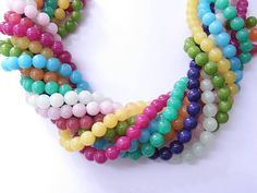 10 MM Natural White Jade Beads Strands Round Dyed Mixed by N2BEADZNMORE, $5.00