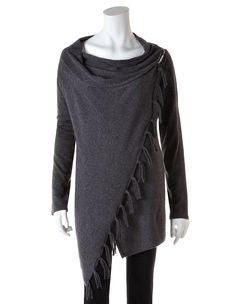 Grey Fringe Drape Sweater , Grey