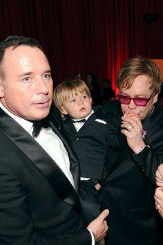 Elton John and David Furnish son Zachary Furnish-John on February 24, 2013 in West Hollywood, Calif.