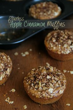 Flourless Apple Cinnamon Muffins -- soft, sweet, and made without flour, oil, or refined sugar! || runningwithspoons.com #apple #muffin
