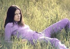 Ali MacGraw style icon in contrasting textures lilac knit with corduroy love it