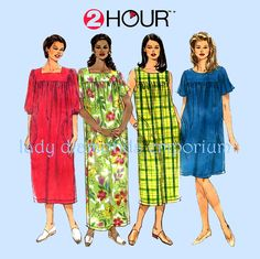 Simplicity 7676 Womens Plus Size 2 Hour Pullover Dress Housedress Duster Robe…