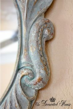 Chalk paint over gold; I could do this to some of my vintage frames; maybe have a big chalkboard inside?