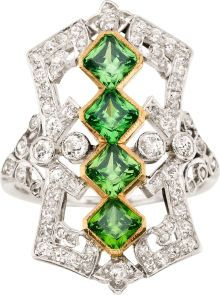 Edwardian Demantoid Garnet, Diamond, Platinum, Gold Ring. The ring features square-shaped demantoid garnets weighing a total of approximately 1.80 carats, set in 18k gold, enhanced by European and single-cut diamonds weighing a total of approximately 0.85 carat, set in platinum. Gross weight 6.40 grams.