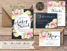 Printable Wedding Invitation Suite Floral wedding invite vintage flower rustic wedding RSVP card DIY digital invitation set Printable Wisdom on Etsy, $45.00