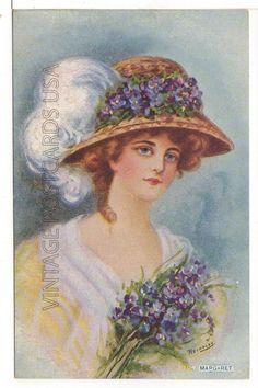 """Margaret"" BY Artist Reynolds Pretty Woman IN HAT Antique Postcard   eBay"