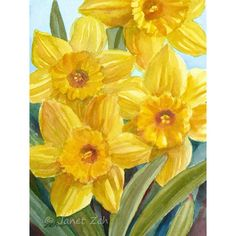 Daffodil Painting, Yellow Flowers Original Watercolor Spring Decor, 5x7 Art, Floral Artwork by Janet Zeh