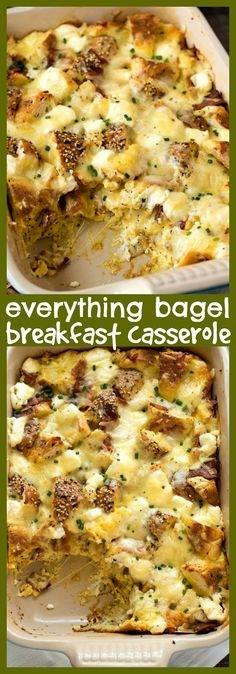 Everything Bagel Breakfast Casserole – CPA: Certified Pastry Aficionado Everything Bagel Breakfast Casserole – A hearty and rich breakfast casserole made with super flavorful everything bagels, Gruyere cheese, and crispy bacon. Christmas Breakfast Casserole, Best Breakfast Casserole, Breakfast Bagel, Breakfast For Dinner, Breakfast Dishes, Breakfast Recipes, Breakfast Ideas, Breakfast Time, Brunch Casserole