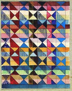 Gunta Stölzl's 1927 watercolour layout of her design for a Jacquard woven textile. Love her colours and the rawness of this sketch.