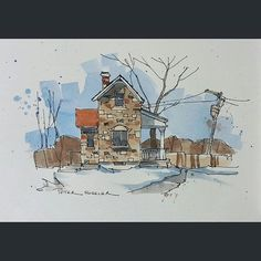 Latest video posted on YouTube. An old Stone Farmhouse. Link to my YouTube Channel is in my bio or Cut and Paste:  https://m.youtube.com/c/petersheelerart  #Video #youtube #youtubers #landscape #art #original #watercolor #winsorandnewton #watercolour #painting #paintingaday #penandink  #architecture #ink #moleskine_arts  #canada #ImagesofCanada #farm #countryside #farmhouse #winter #snow #shadows